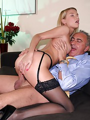 Flight attendant shagging a horny senior man