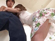 Rio Asian wears sexy skirt making dude cock hard and willing