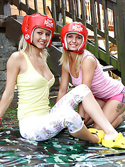 Blond and blue-eyed teen loves lesbo games outside