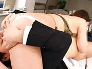 Risa Tsukino Asian on high heels has thong away and slit licked