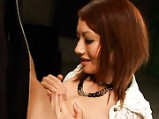 Reon Otowa Asian rubs stiffy between her big tits and of nipples