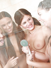 4 sexy teens taking shower & spying on unsuspecting guy