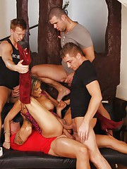 It's always tricky figuring out how to approach strangers about taking part in a gangbang, but Klarisa and her boyfriend have figured out a sure-fire way; just start engaging in foreplay in front of them in a public place.
