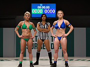 2 big titted blonds battle in non-scripted sex wrestling.  Multiple submission holds, face sitting finger fucking, crushing leg scissors and much more