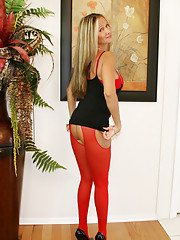 Rio getting ready to go out at night with sexy crotchless pantyhose on