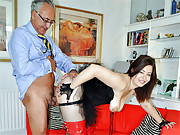 Brunette british street slut fucks an old guy