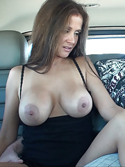 HotWifeRio flashing her big tits  in public and jerking off  a hard cock in her car
