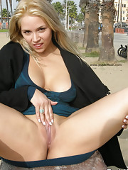 Busty flasher get naughty in public