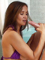Rio  picks up a  guy with a big dick at the beach  and  sucks him off in the shower