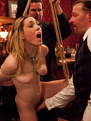 A new addition to TUF comes in the form of Lily LaBeau aka piggy. She is made to serve all guests while crawling, then is sadistically fucked.