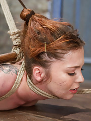 Jessie endures an ankle to hair only suspension, is tormented with brutal tickling, subjected to unforgiving orgasms, and exhibited as a filthy whore.