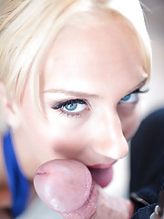 perky blonde beauty sucks dick and swallows mouthful of cum