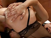 Kinky Anal Play with three sexy girls, fisting, enema, gaping, strap-on.