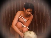 Japanese AV Model puts water in bowl to wash fellow dick at bath