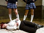 Three hot students get revenge on their teacher Kylie Ireland