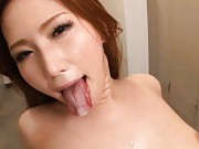 Ai Sayama Asian is fingered and gets sperm at the locker room