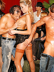 Alcohol soaked hotties smoking pole groupsex
