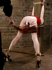 Welcome young and innocent Alani Pi to HogTied. She is run though her paces in a cat 5 hogtie suspension, crucifixion, bow, and folded spread eagle!