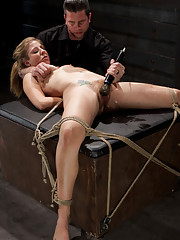 Chastity is made to move rocks, endure a brutal suspension, and experience extreme orgasms.