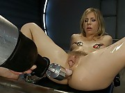 The kitchen sink was next: Fucking Chastity Lynn with every big cock & fast machine in the room. Double Anal, Goat Milkers, tit clamps, pussy bangin