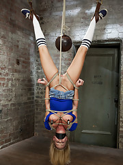 Hot muscular MILF Simone Sonay is made to work out bound, given intense breast bondage predicament, spread extremely wide, and cums until she can
