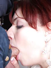 petite redhead beauty sucks dick and swallows semen
