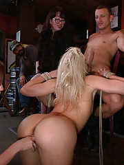 Gorgeous blonde with a PERFECT ASS is stripped naked, fucked, and bound in public!