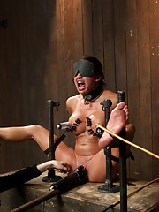 Mia returns for her painful and action packed Live Show with leather strap suspension, pipe bondage, wax and feet play, and a sybian joy ride!