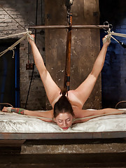 Missy Minks is challenged in cruel and unforgiving predicament bondage in a challenging hogtie, crotch ropes, suspension, and tough back bends!