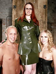 Sarah Ceylon and Claire Adams double team slave boy
