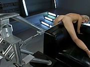 Hot, tall blonde breaks squirting records while getting fucked by machines. She soaks the camera lens like a sponge.