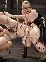 Chastity is immobilized in tight bondage, and made to suck, fuck, endure great pain and orgasms before Aiden and Derrick will give her a pass
