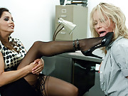 Slutty anal Milf banged in the ass with a fat strap-on during job interview!