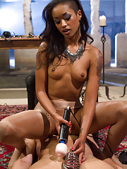 Skin Diamond teases slave with silky pantyhose worship then milks his prostate to a painful denial!