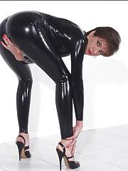 Rubber catsuit milf