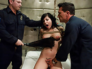 Innocent girl accused of prostitution and double penetrated by cops.