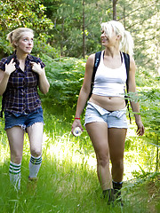 Two Beautiful hikers get trapped in the woods and fucked in bondage!