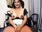 Yui Tokui Asian house keeper in fishnet licks her own big nipples