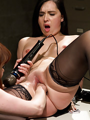 Sexy lesbian prisoner dominates, punishes and fist fucks her hot lawyer!