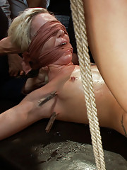Petite, blonde, 22 yr old is bound, blindfolded, zapped, made to suck multiple cocks, fingered, fucked & beaten by strangers, made to squirt, fisted!