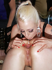Sarah Shevon is fisted and fucked in the ass in public, then covered in dirty jock straps, and made to sit and pee while everyone watches!