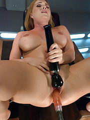 Girl cum streams out of her wet pussy w/every cock thrust from the machines. Krissy