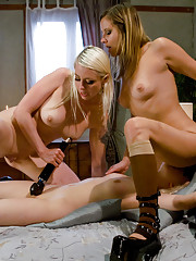 Two kinky blonde lesbians take advantage of the girl next door, tying her up, shocking her cunt, and using her mouth to clean their pussies and asses