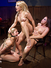 Hot all natural blonde is subjected to hot tease and denial lesbian cuckold!