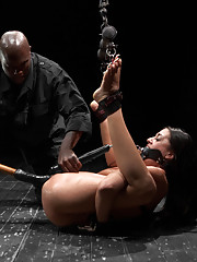 Lyla is suspended in contortion bondage, challenged with pain, gets a squirt/cum fest and in the end, Jack always gets what he wants from his bitches.