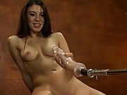 Dick so big you can see it from SPACE. Smoking hot French girl tied up and fucked by giant dongs on fast machines.