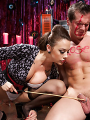 Mistress Chanel Preston humiliates slaveboy and stores his balls in her purse with her cruel words and devastatingly perfect body!