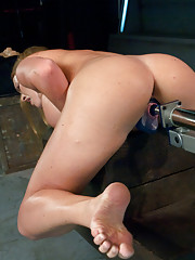 Her cunt swallows cock while the machines increase in speed. Her tight stomach, luscious ass and great tits all in a relentless orgasm workout.