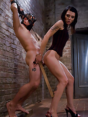 Wicked dominatrix chains up slaveboy then milks him of all his cum!