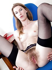 Hairy girl Katie Daze gets dirty at the office